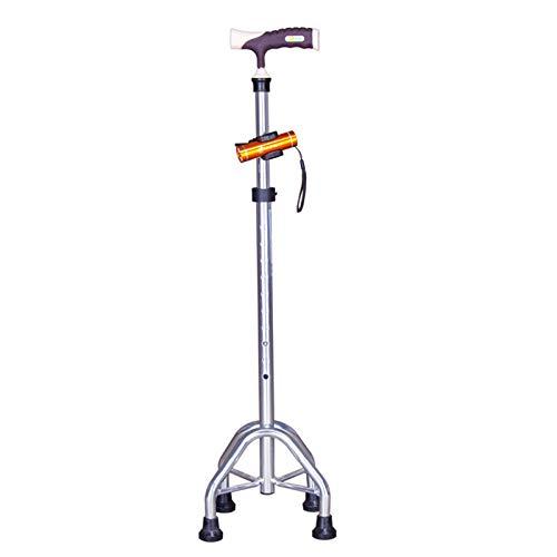 MYHZH Quad Caña - Caminar Ajustable bastón con 4 Abocardadoras Base para una Mayor Estabilidad - Obras para diestro o zurdo Hombres o Mujeres,Plata