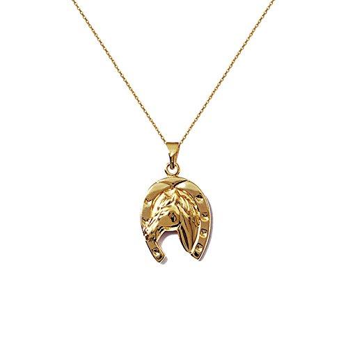 Juego de colgante de herradura chapado en oro de 18 quilates + cadena de 50 cm chapado en oro