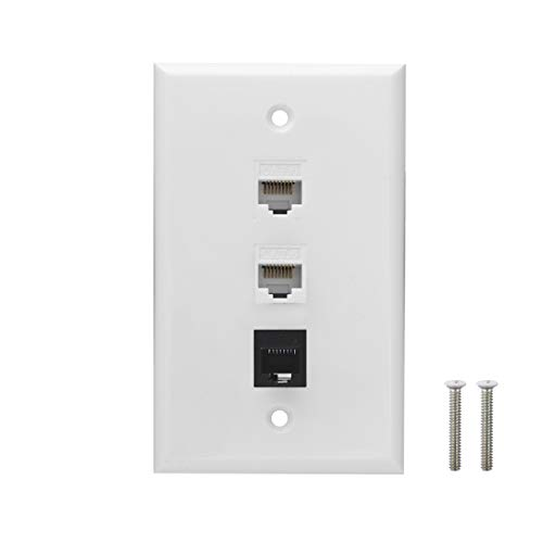 Ethernet Phone Wall Plate - 2 Port Cat6 Keystone Female to Female, 1 Port RJ11/RJ12 Cat3 Keystone Female to Female Wall Plate - White