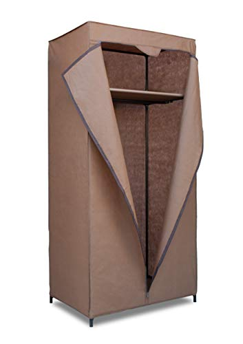 Topline Portable Freestanding Covered Closet Garment Wardrobe Organizer with Top Shelf – Mocha