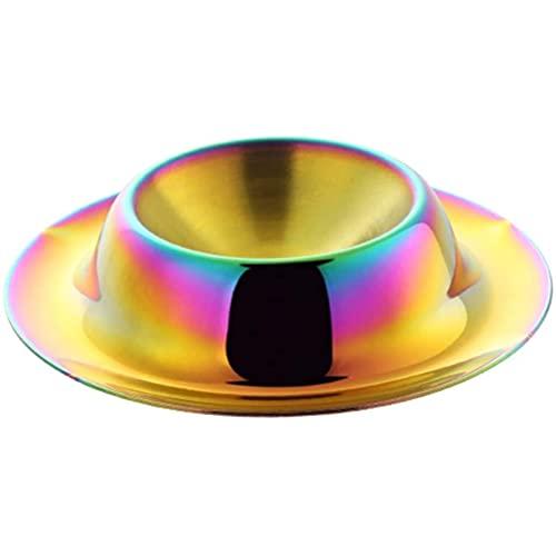 Juego de 2 hueveras de acero inoxidable para huevos duros, servidores de desayuno, regalos para cocina (arco iris 1)