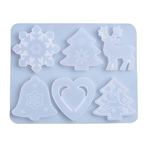 COMEYER - Stampo in silicone con ciondolo a forma di cuore, con campanelle, alce e albero di Natale
