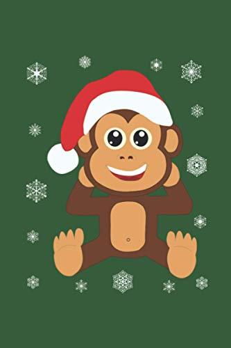 """Weihnachten mit Santa Baby-Äffchen: Personalisiertes Notizbuch (6"""" x 9"""" ~ DinA5) 120 linierte Seiten Tagebuch / Poesiealbum mit niedlichem Weihnachtsmotiv"""