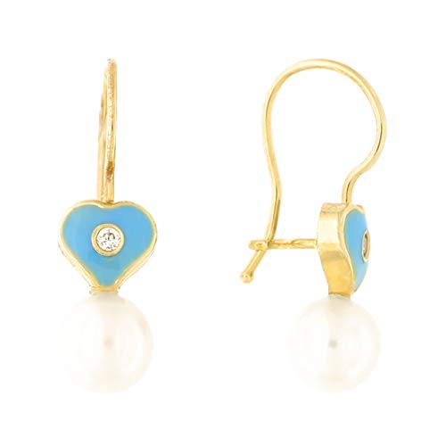 14k Yellow Gold Freshwater Cultured Pearl Cubic Zirconia Blue Enamel Heart Kidney Wire Drop Earrings