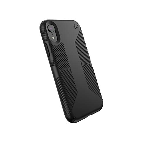 Speck Products Compatible Phone Case for Apple iPhone XR, Presidio Grip Case, Black/Black