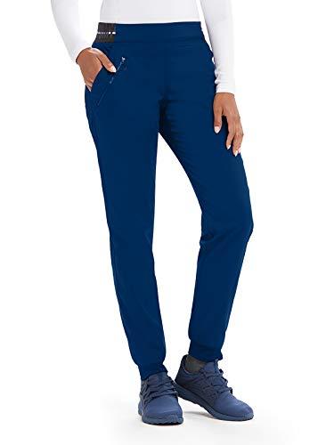 Grey's Anatomy Active GVSP512 3 Pocket Logo Knit Waist Jogger Scrub Pant Indigo/White/White Stripe L