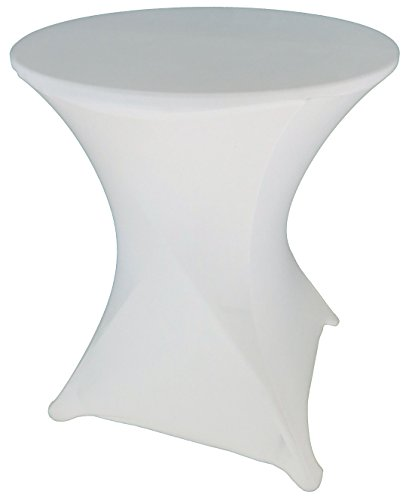 Goldstream Point White 24 Inch Round x 30 Inch Tall Spandex Cocktail Tablecloth Folding Cover Stretch