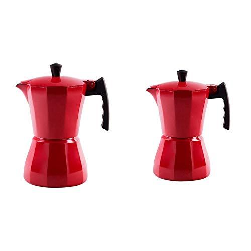 Moligh doll 2Pcs Italian Aluminum Coffee Maker Moka Espresso Percolator Countertop Pot 300ML Stovetop Kitchen Tools-Red