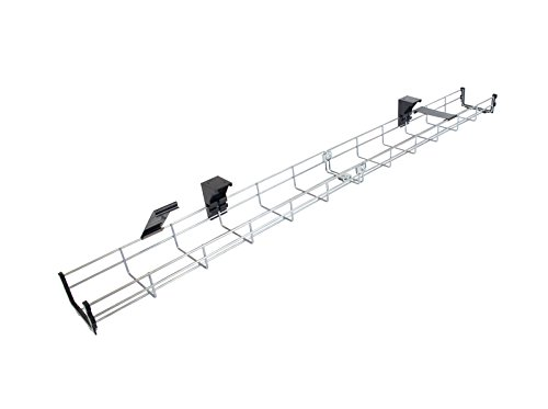 120cm Long Under Desk Basket Cable Tray Galvanized Steel Mesh Cord Management Rack w/Mounting Bracket, Cover & End Cap (Cesta para Cables)