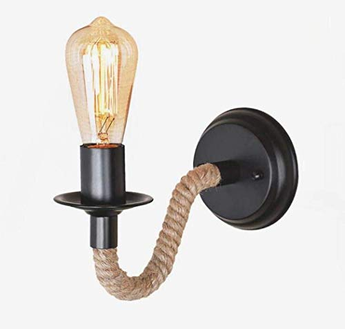 MGWA Luces de Pared Lámpara De Pared Industrial Vintage Lámpara De Pared De Cuerda De Cáñamo Creativa Lámpara De Metal De Estilo Rústico De Diseño Simple, Negro, A