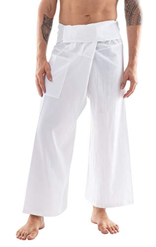 CandyHusky Cotton Men Women Fisherman Pants Summer Tai Chi Hippie Yoga Pants (White)