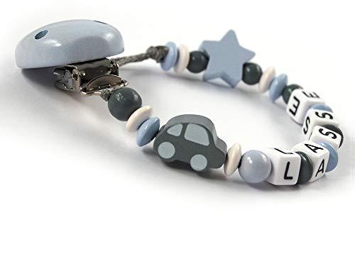Schnullerkette mit Namen Jungen bis 7 Buchstaben Auto Stern - grau pastellblau (blau) weiß Holz - Baby - Handarbeit