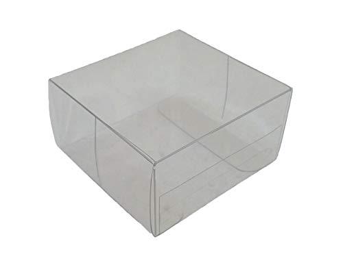 50 Piezas Caja PVC Transparente 6x6x3 cm Bolsas para Peladillas Matrimonio Ceremonia