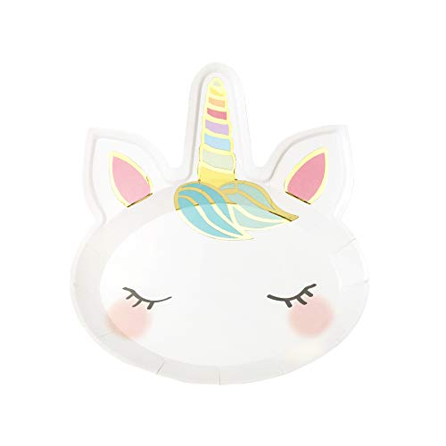 Talking Tables Unicorn-Plate-Face Sprekende tafels eenhoorn party kartonnen borden verjaardag baby shower, 8-pack, papier, papier