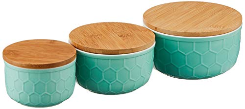 Bloomingville Set of 3 Round Mint Green Stoneware Bowls with Bamboo Lids,Small, Medium, and Large
