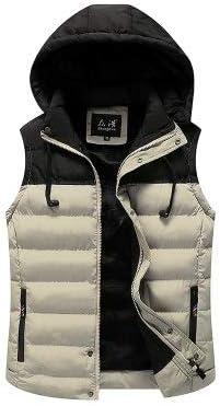LYLY Vest Women Men Jacket Vest Mens Winter Hooded Sleeveless Men Waistcoat Two Color Matching Slim Warm Thick Hommes Vest Vest Warm (Color : Khaki, Size : XXS)