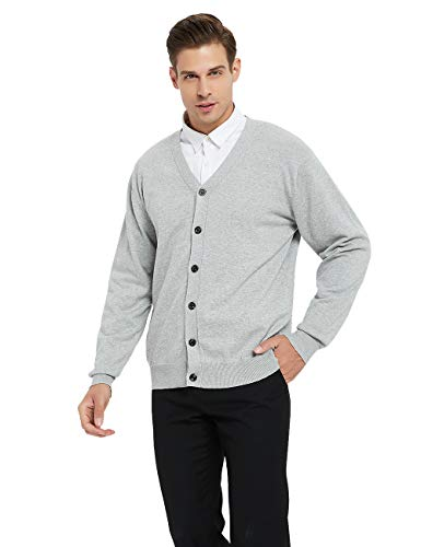 TOPTIE Men's Casual Fit V-Neck Cotton Sweater Cardigan-Gray-XL