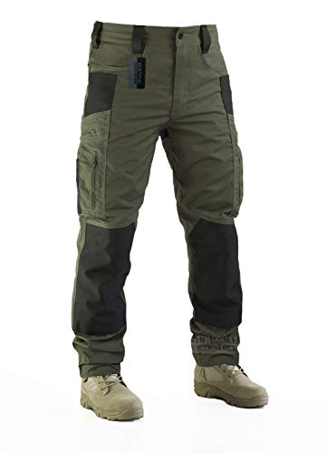 Survival Tactical Gear Men's Ripstop Pants Outdoor Military Camo Cargo Trousers for Camping Hiking (Ranger Green, M)