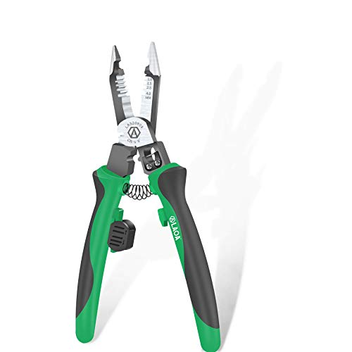 LAOA Wire Strippers 9 inch prolong Electricians Pliers muli-purpose needle nose pliers professional with Wire Stripper Crimper Cutter Function 320909