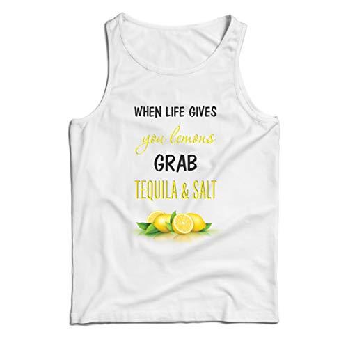 lepni.me Weste Wenn das Leben Ihnen Zitronen gibt, greifen Sie zu Tequila und Salz-Zitat (M Weiß Mehrfarben)