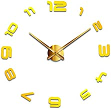 Generic 3D Acrylic Mirror Wall Sticker Clock, Yellow, T4-002