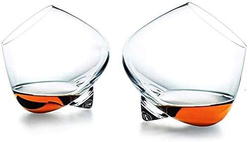SOAR Botellero 2 Unid Whisky Rocker Gafas Regalo Whisky Tumblers Balanceo Whisky Gafas Cristal Corte Transparente Rodamiento Whisky Gafas Barras De Regalo para Hombres Mujeres