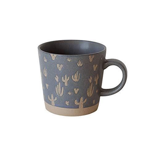 FEIYIYANG Tazas Nordic Retro Copa De Cerámica Oficina Simple Tea Tea Tea Office Taza De Bebida Copa De Gres Mejor Regalo para Amigos Y Familia Taza De Café 350ml Taza (Color : Cactus)