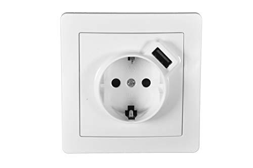 POPP® Conjuntos Interruptor e Enchufe,timbres para la pared Zócalos con USB Toma corrientes de pared,salon cuarto cocinas pasillos oficinas (1 unidad, Enchufe con USB)