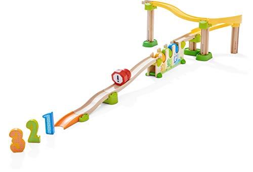 HABA 304803 - Kullerbü – Kugelbahn Zahlen- und Farbenrallye, Holzkugelbahn mit Lerneffekt, schult Farben- und Zahlenverständnis, Motorikspielzeug ab 2 Jahren