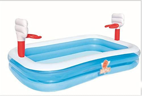 JOK Piscina inflable, baloncesto inflable del juego del agua de la piscina de los niños de vadeo envía dos baloncesto inflable