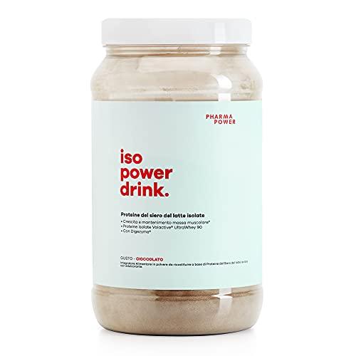 Iso Power Drink PROTEINE ISOLATE PharmaPower - 600g - Proteine Microfiltrate e Ultrafiltrate UltraWhey 90 con Enzimi Digestivi - Alta Digeribilità e Solubilità - Senza Glutine (Cioccolato)