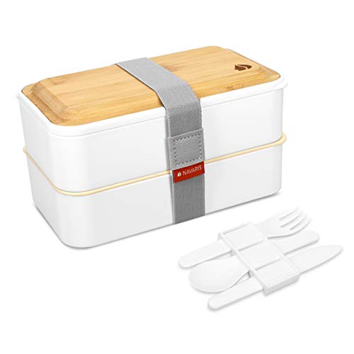 Navaris Recipiente hermético Tipo bento - Fiambrera con 2 Compartimentos Cubiertos y Tapa de bambú - Lunch Box para Llevar Comida Almuerzo - Blanco