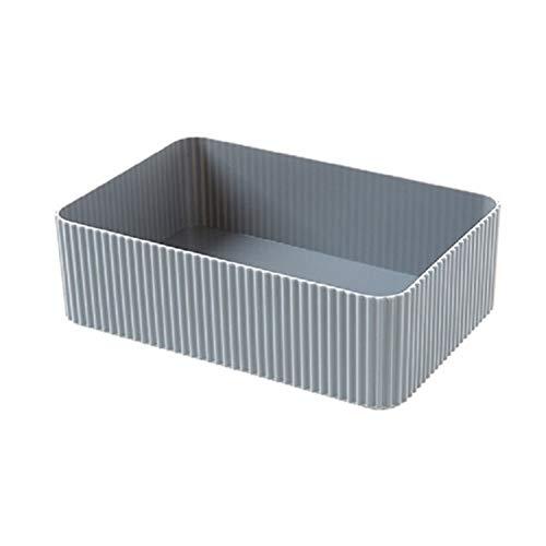 DNAMAZ Basket Plastic Home Office Bathroom Storage Box Grid Desktop Sundries Storage Box Makeup Organizer Cosmetic Closet Bin Case storage (Color : A Gray L)