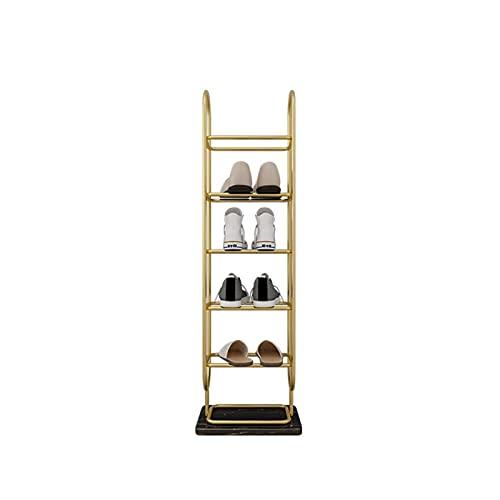 Zapatero de metal nórdico para zapatos con base de mármol, estante multicapa para entrada en casa, sala de estar, organizador de zapatos (color: dorado negro, tamaño: 6 niveles)