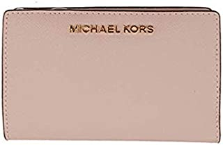 Michael Kors Women's Jet Set Travel, Medium Card Case Carryall Wallet with Removable ID Card Holder, Leather Material - Blossom