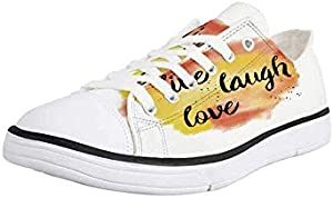 Canvas Sneaker Low Top Shoes,Live Laugh Love Decor,Grunge Stylized Modern Lifestyle Phrase Happiness Themed Design Decorative