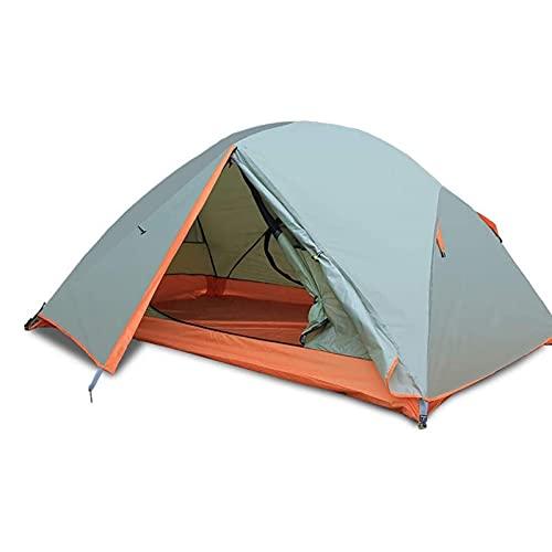 KJLY Tienda de camping Tienda de aluminio de 3 personas Polares de aluminio de doble capa Tienda Impermeable Dos puertas Configuración fácil de la carpa para al aire libre, caminata al montañismo Tien