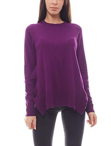 NA-KD Sweater Pullover bequemes Damen Sweat-Shirt mit Schlitzen Rüschen Freizeit Lila, Größe:S