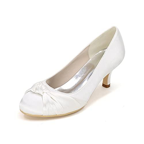 Zapatos De Novia De Satén con Tacón De Gatito para Novia Bombas...