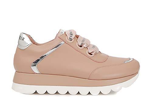 CAF Noir DB151 puderrosa Schuhe Frau Sneakers Schnürsenkel Satin Leder 39