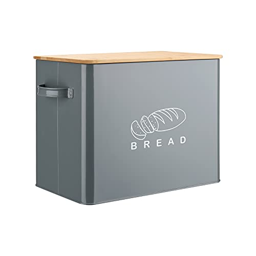 Bread Box, G.a HOMEFAVOR Extra Large Metal Bread Bin with Bamboo Lid, High Capacity Bread Storage Bin for Kitchen Countertop, Holds 2+ Loaves, 13'7.5'10', Gray