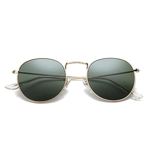 Moda Gafas De Sol con Montura Metálica Dorada, Gafas De Sol Redondas con Espejo para Mujer, Gafas De Sol Retro Reflectantes con Revestimiento, Gafas De Tendencia De Diseñador De Marca, Goldd