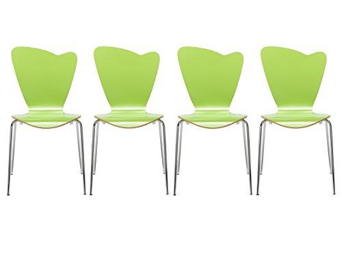 MAUSER SITZKULTUR 4er-Set Design Stühle HEART in Holzdekor grün ohne Armlehne, stapelbar, M528