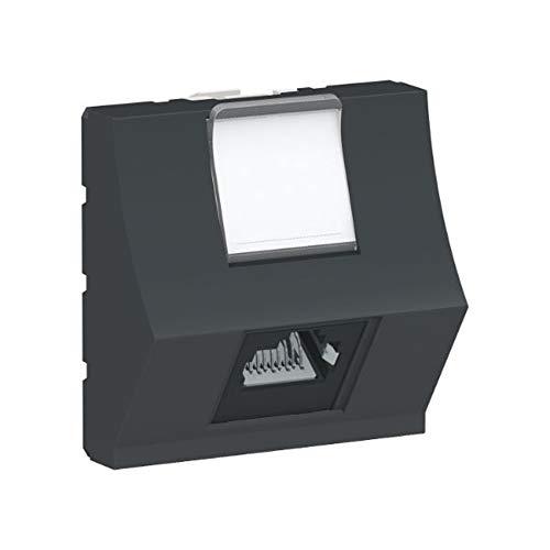 Toma RJ45, categoría 6 STP, 2 módulos, de aluminio, color negro (Schneider Electric NU340754)