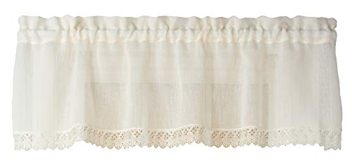 Curtain Chic Flanders 56 Inches Wide x 14 Inches Long Polyester Valance Curtain, Ivory