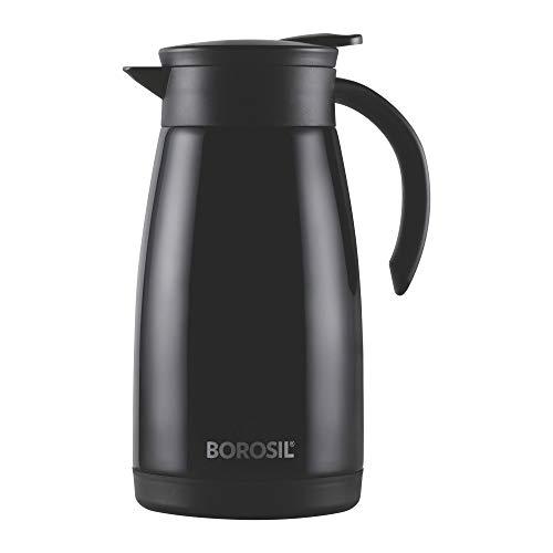 Borosil Stainless Steel Teapot Flask, 1 Litre, Black