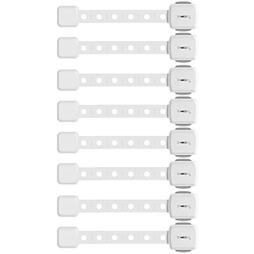 Paochocky 8 PCS ajustable Cerraduras de Seguridad Bebés con 3M Adhesivo No es Necesario Perforar para Nevera gabinetes Ventanas para Niños,Blanco