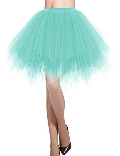 DRESSTELLS Damen Tüllrock 50er Rockabilly Petticoat Tutu Unterrock Kurz Ballett Tanzkleid Ballkleid Abendkleid Gelegenheit Zubehör LightBlue M