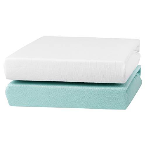 Urra Spannbetttuch Jersey Doppelpack weiß/rosa 60x120 cm + 70x140 cm