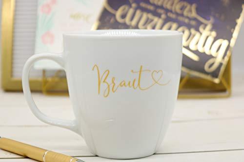 Great Stuff Tasse Hochzeit Braut goldene Schrift Kaffeetasse Teetasse Hochzeitstasse Brautgeschenk Bride to be Brauttasse Geschenk Idee Verlobungsgeschenk